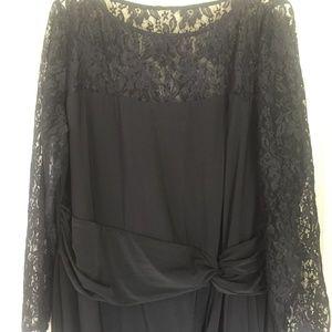 Chaps long sleeve lace black dress size 20W